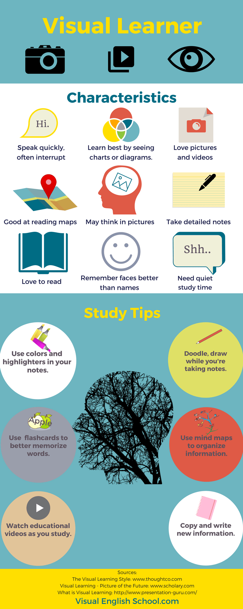 Who are visual learners? Infographic about visual learners'characteristics and study tips