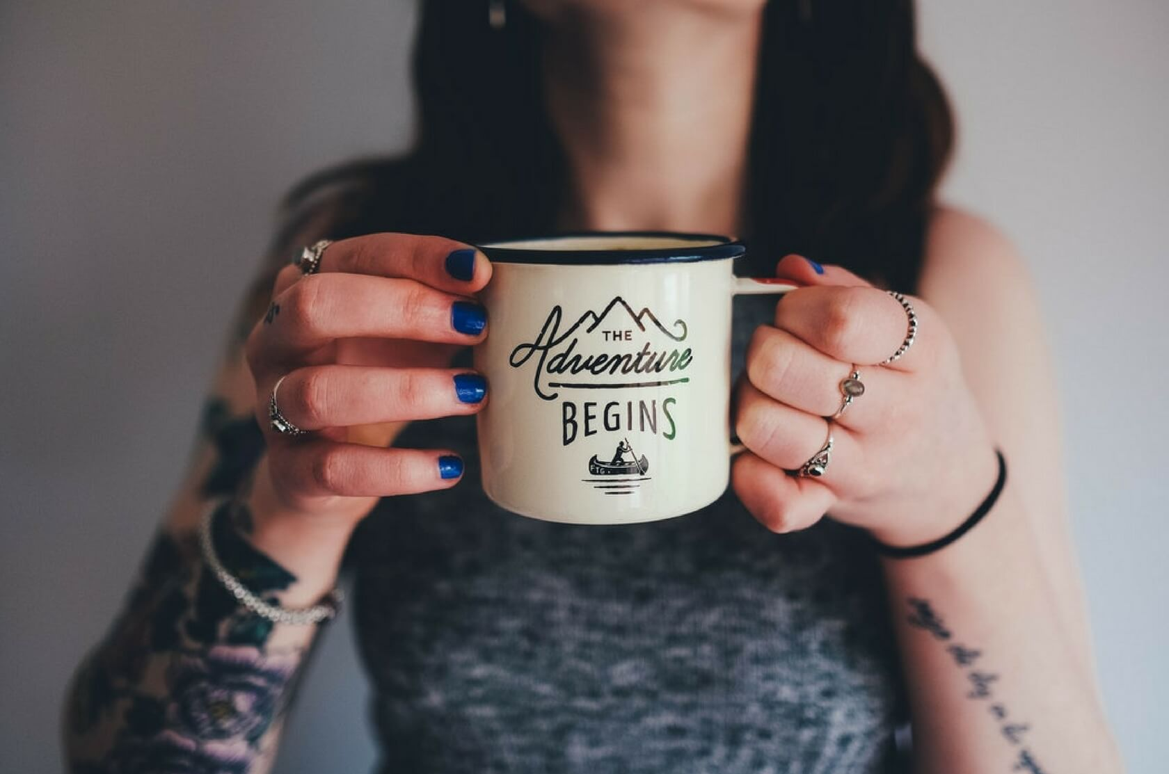 Authentic English with short movies. The Adventure Begins mug.