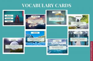 A series of vocabulary cards related to the film A Social Distance