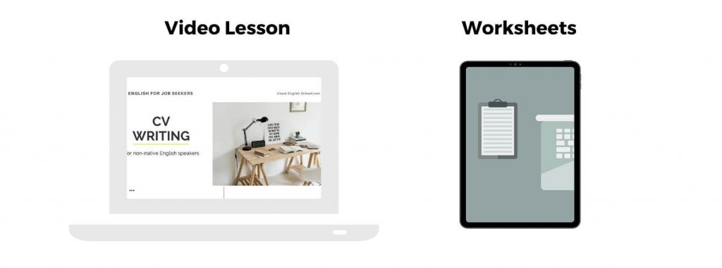 The course English for Job Seekers has 5 modules and it contains video lessons and worksheets.